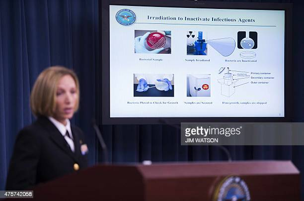 Director of Medical Programs for DoD Chemical and Biological Defense Commander Franca Jones speaks as a graphic shows how Irradiation to Inactivate...
