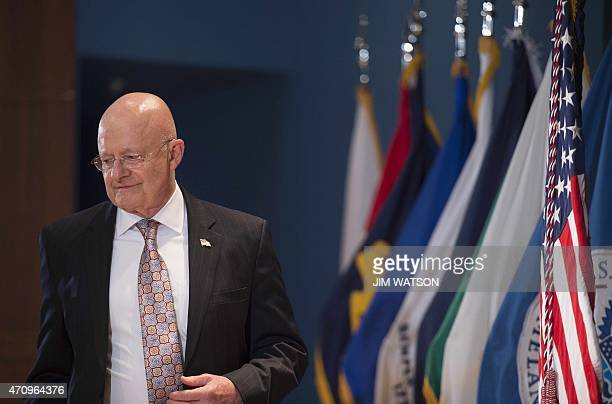 Director of National Intelligence James Clapper arrives to introduce the US President to mark the 10th anniversary of the Office of the Director of...
