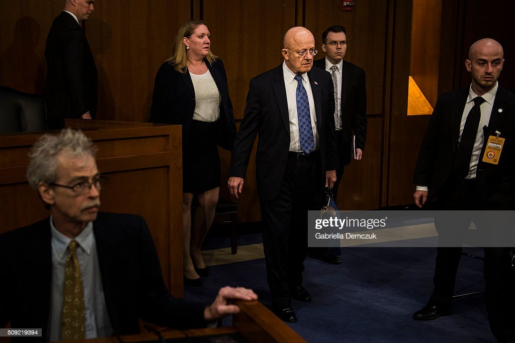 Director of National Intelligence James Clapper enters the room before the Senate (Select) Intelligence Committee hearing at the Hart Senate Building on February 9, 2016 in Washington, D.C. The committee met to hear testimony about worldwide threats to America and its allies.