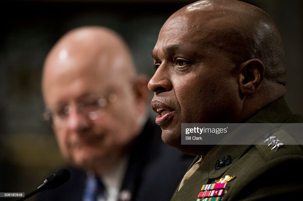 Director of National Intelligence James Clapper, left, and Director of the Defense Intelligence Agency Lt. Gen. Vincent Stewart, USMC, testify during the Senate Armed Services Committee hearing on 'Worldwide Threats' on Tuesday, Feb. 9, 2016.