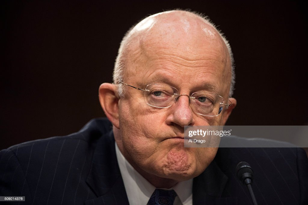 STATES - FEB. 9 - Director of National Intelligence James Clapper listens on Capitol Hill in Washington, on Tuesday, Feb. 9, 2016, while testifying before the Senate Select Intelligence Committee hearing on worldwide threats.