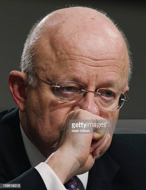Director of National Intelligence James Clapper participates in a Senate Armed Services Committee hearing on March 10 2011 in Washington DC The...