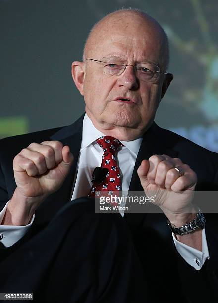 Director of National Intelligence James Clapper speaks about threats to the US during the Defense One annual Summit November 2 2015 in Washington DC...