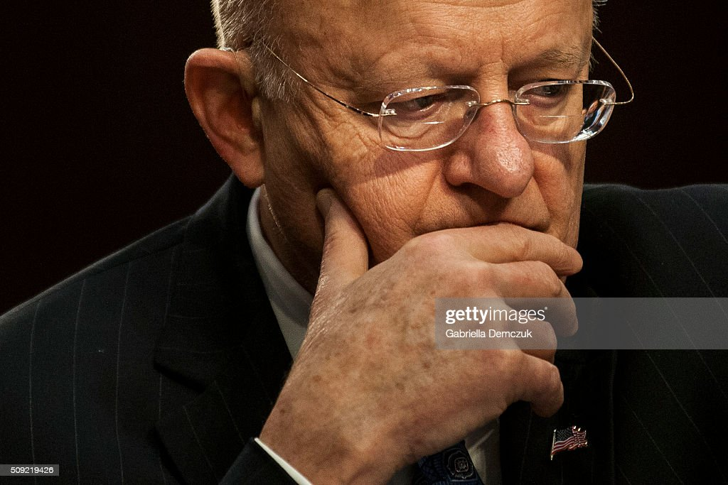 Director of National Intelligence James Clapper testifies before the Senate (Select) Intelligence Committee at the Hart Senate Building on February 9, 2016 in Washington, D.C. The committee met to hear testimony about worldwide threats to America and its allies.