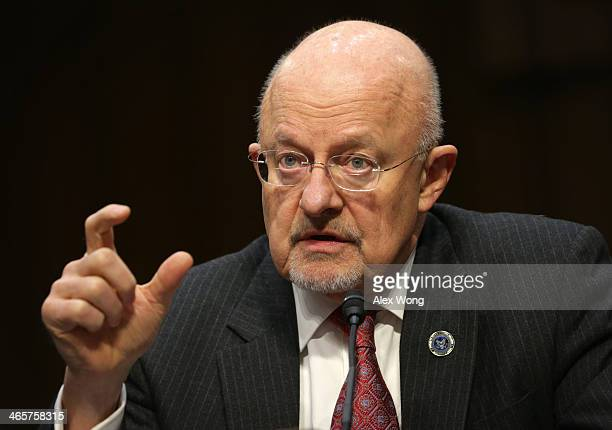 Director of National Intelligence James Clapper testifies during a hearing before Senate Intelligence Committee January 29 2014 on Capitol Hill in...