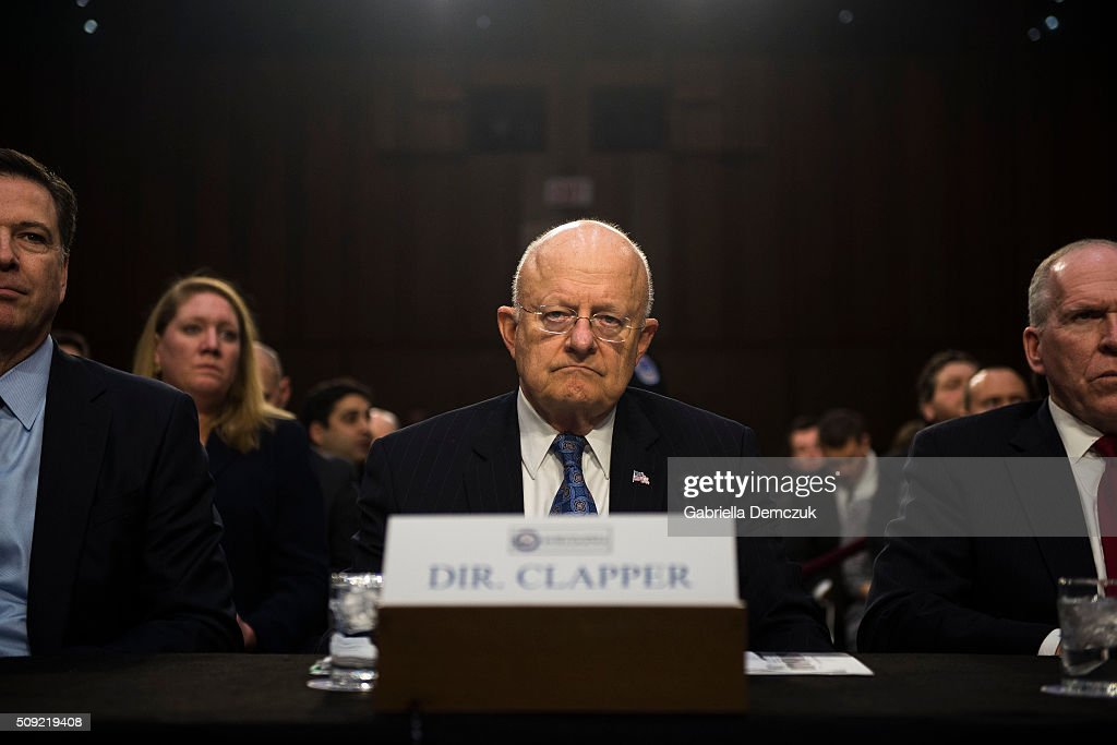 Director of National Intelligence James Clapper waits for the Senate (Select) Intelligence Committee hearing to begin at the Hart Senate Building on February 9, 2016 in Washington, D.C. The committee met to hear testimony about worldwide threats to America and its allies.