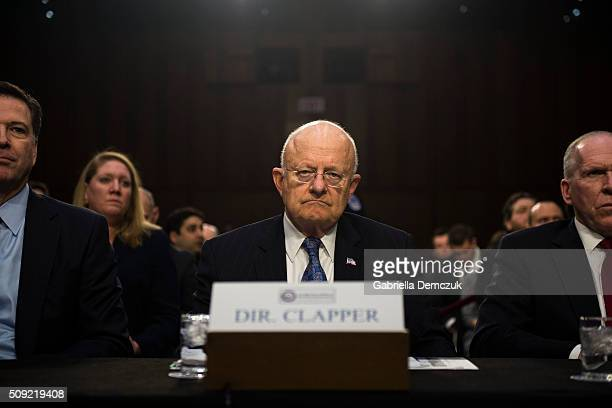 WASHINGTON DC FEBRUARY Director of National Intelligence James Clapper waits for the Senate Intelligence Committee hearing to begin at the Hart...