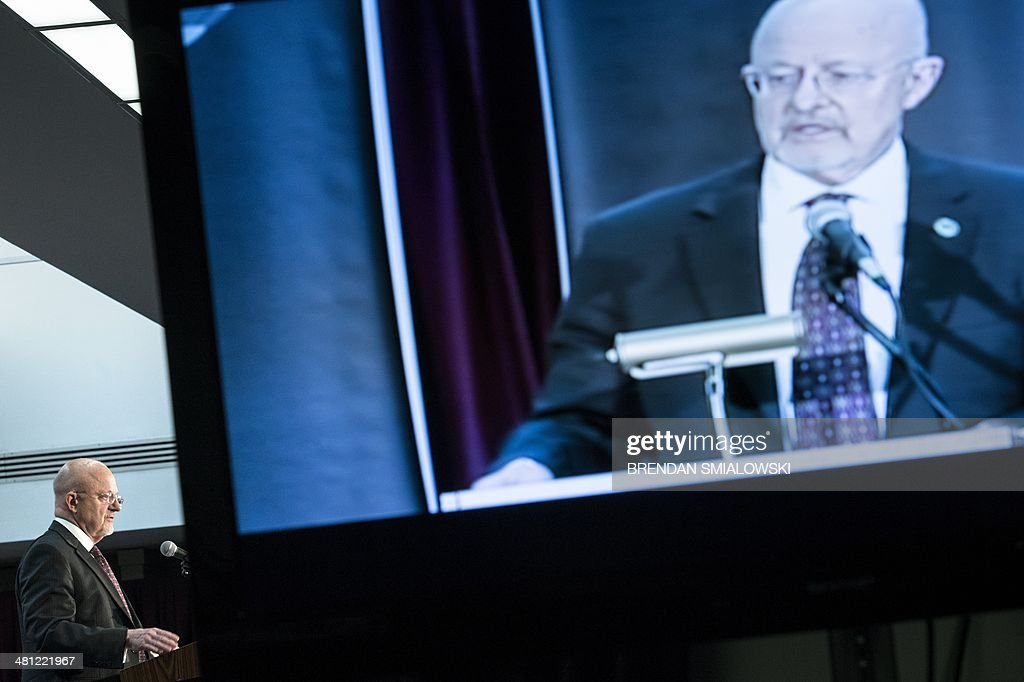 Director of National Intelligence James R Clapper speaks during a retirement ceremony at the National Security Agency March 28 2014 in Fort Meade...