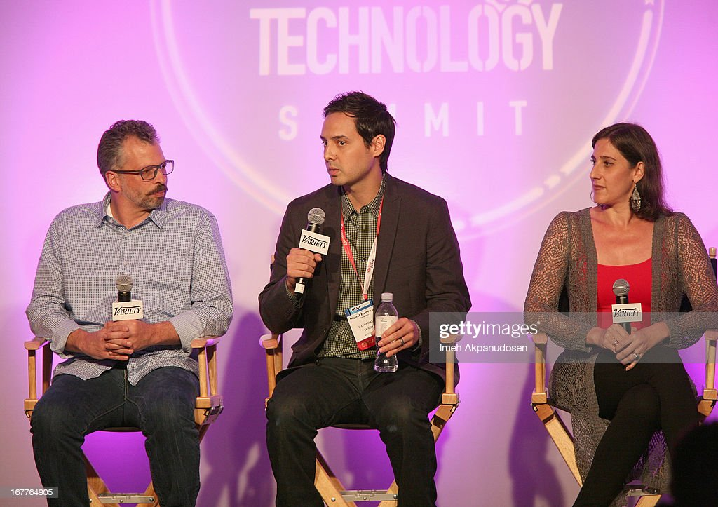 Director of New Media Code and Theory John Gilles, Entertainment Evangelist at Tumblr David Hayes and Chief Marketing Officer at Netbase Lisa Joy Rosner speak onstage at Variety's Spring 2013 Entertainment and Technology Summit Co-Produced with Digital Hollywood at Ritz Carlton Marina Del Rey on April 29, 2013 in Marina del Rey, California.