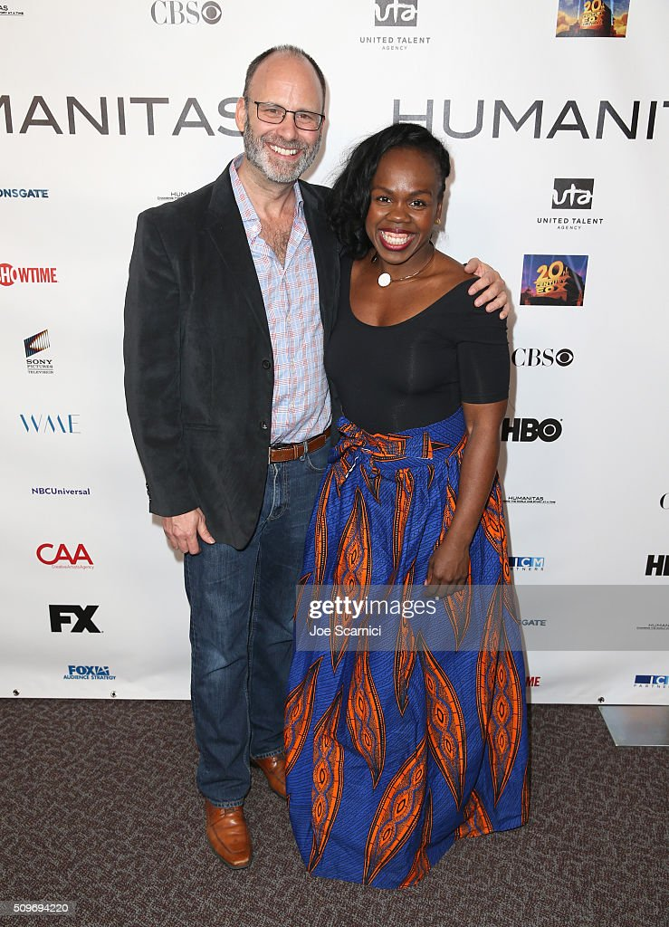 Director of New Play Development Pier Carlo Talenti (L) and Ngozi Anyanwu; Humanitas/CTG Playwright Prize Nominee attend the 41st Humanitas Prize Awards Ceremony at Directors Guild Of America on February 11, 2016 in Los Angeles, California.