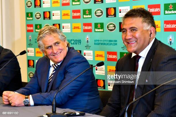 RU Director of Performance Scott Johnson of Scottland and Jamie Joseph head coach of Japan attend a press conference after the Rugby World Cup 2019...
