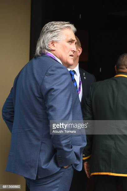 Director of Performance Scott Johnson of Scottland arrives to the Kyoto State Guest House during the Rugby World Cup Pool Draw on May 10 2017 in...