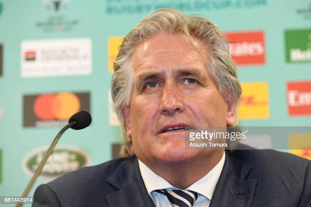 Director of Performance Scott Johnson of Scottland attends a press conference after the Rugby World Cup Pool Draw at the Kyoto State Guest House on...