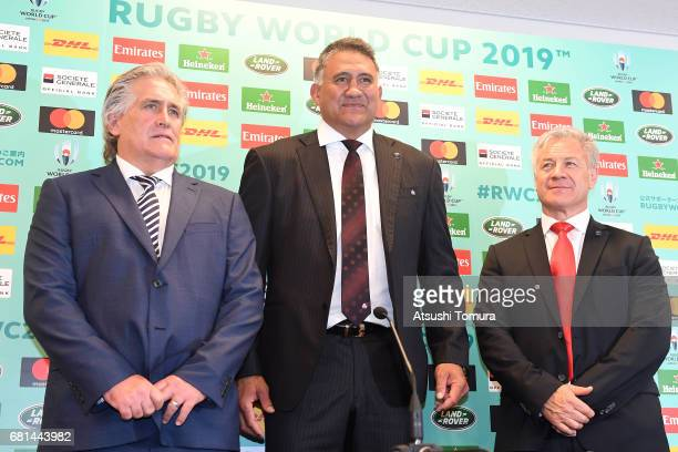 RU Director of Performance Scott Johnson of Scottland Jamie Joseph head coach of Japan and Milton Haig head coach of Georgea attend a press...