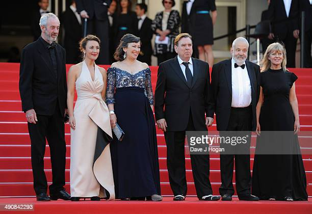 Director of Photography Dick Pope actors Dorothy Atkinson Marion Bailey Timothy Spall director Mike Leigh and producer Georgina Lowe attends the 'Mr...