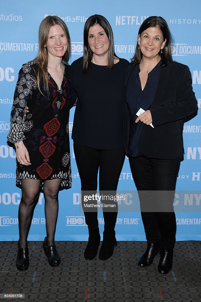 Director of Photography Laela Kilbourn, director Lara Stolman and editor Ann Collins attend the New York premiere of 'Swim Team' at DOC NYC on November 17, 2016 in New York City.