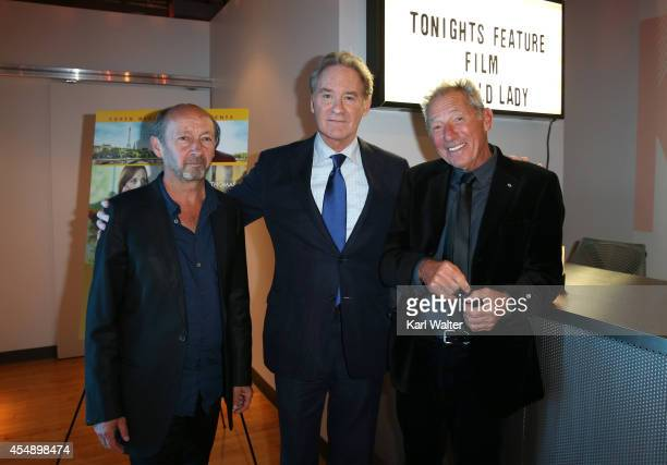 Director of photography Michel Amathieu actor Kevin Kline and director Israel Horovitz attend the 'My Old Lady' dinner hosted by Brassaii during the...