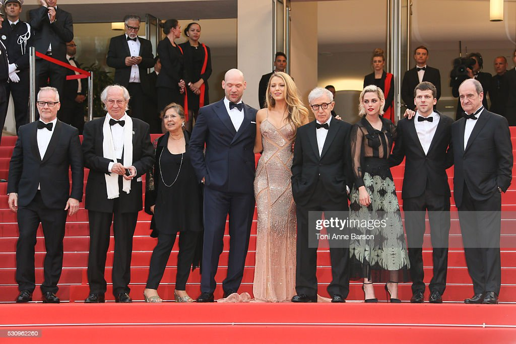 Director of photography Vittorio Storaro, actor Corey Stoll, actress Blake Lively, director Woody Allen, actress Kristen Stewart and actor Jesse Eisenberg attend the 'Cafe Society' premiere and the Opening Night Gala during the 69th annual Cannes Film Festival at the Palais des Festivals on May 11, 2016 in Cannes, France.