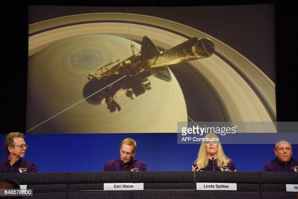 Director of Planetary Science Jim Green Cassini Project Manager Earl Maize Cassini Project Scientist Linda Spilker and Hunter Waite team lead for...