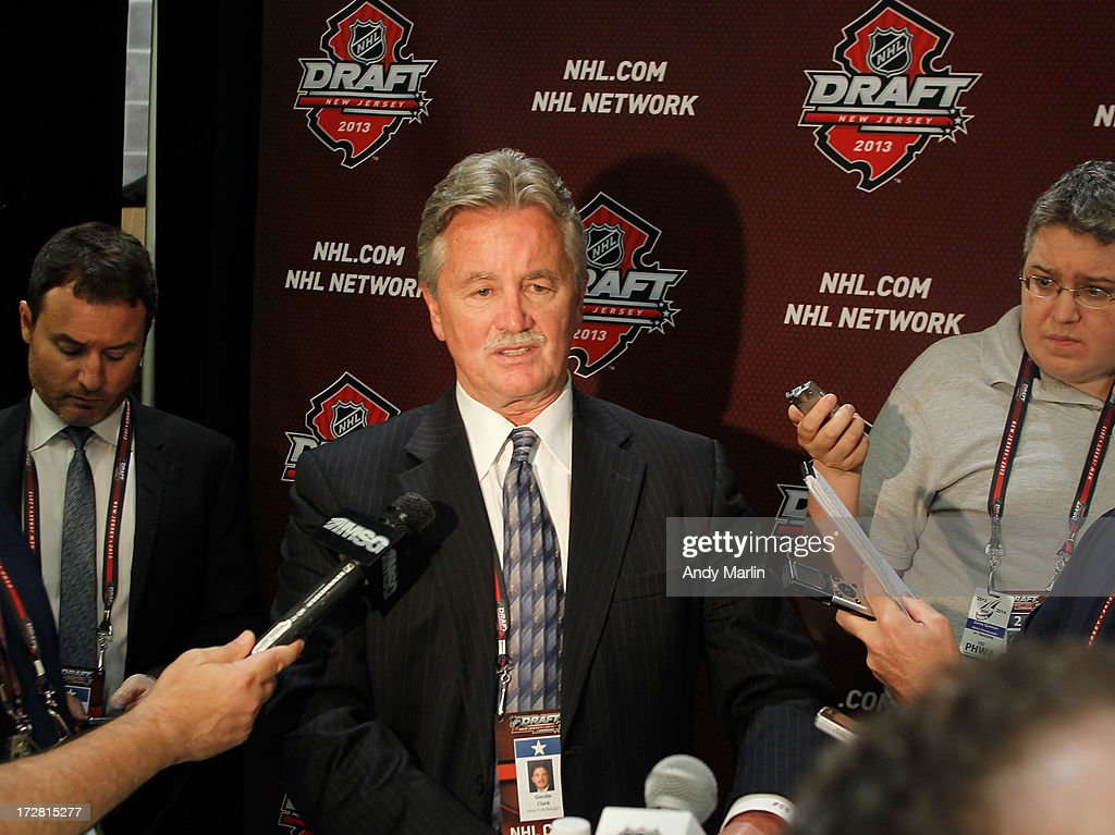 Director of Player Personnel of the New York Rangers Gordie Clark answers questions from the media during the 2013 NHL Draft at Prudential Center on June 30, 2013 in Newark, New Jersey.