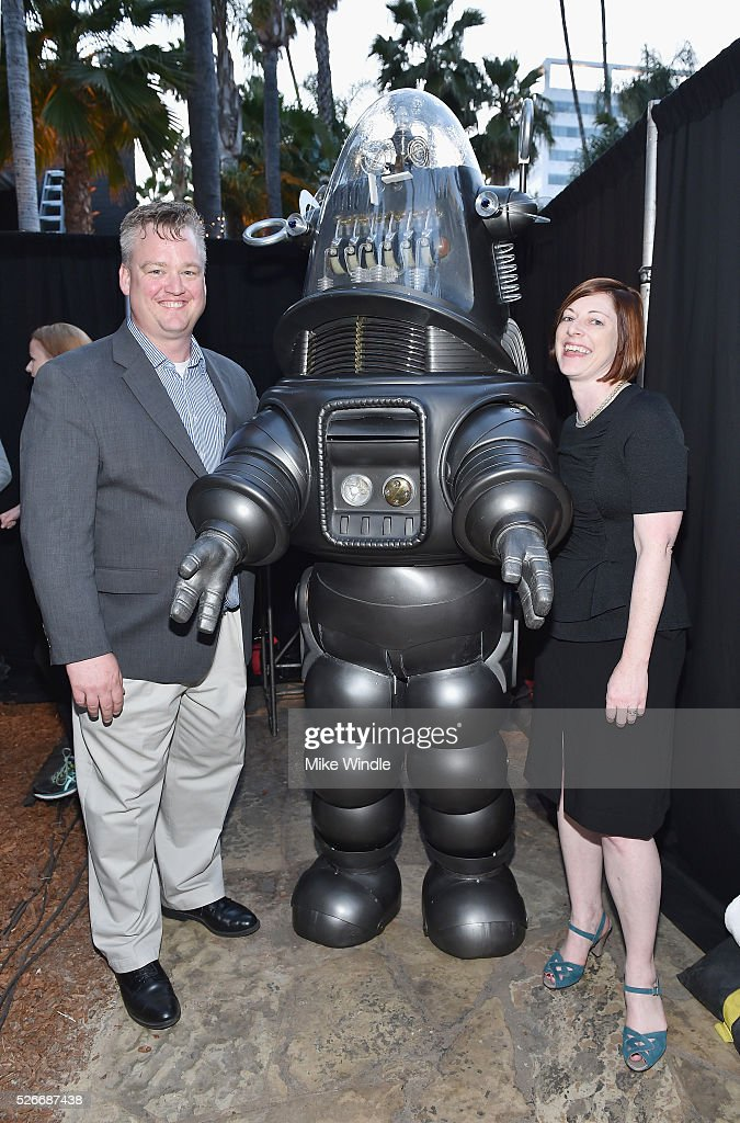 Director of Program Production, Studio Production & Programming Scott McGee, Robby the Robot and Managing Director of TCM Classic Film Festival Genevieve McGillicuddy attend 'Forbidden Planet' screening during day 3 of the TCM Classic Film Festival 2016 on April 30, 2016 in Los Angeles, California. 25826_008