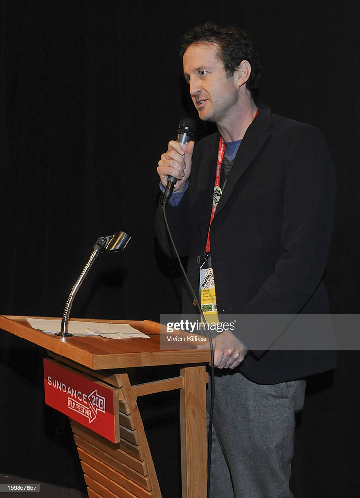 Director of programming at the Sundance Film Festival <a gi-track='captionPersonalityLinkClicked' href=/galleries/search?phrase=Trevor+Groth&family=editorial&specificpeople=561179 ng-click='$event.stopPropagation()'>Trevor Groth</a> speaks at 'Computer Chess' Premiere - 2013 Sundance Film Festival at Library Center Theater on January 21, 2013 in Park City, Utah.