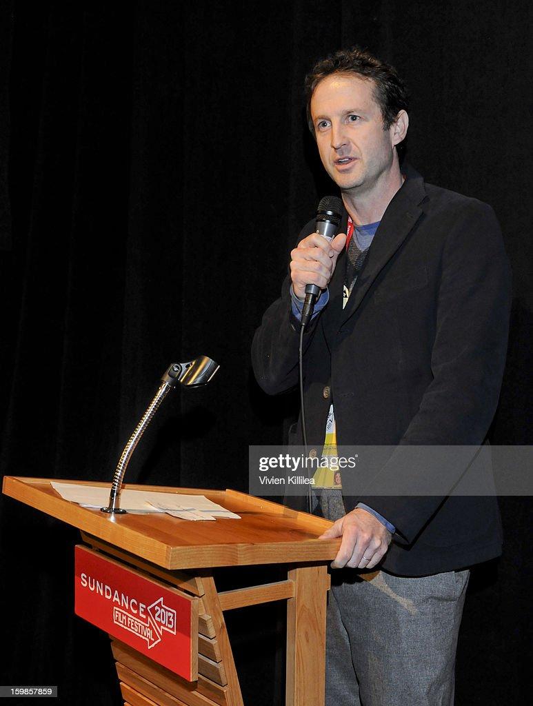 Director of programming at the Sundance Film Festival Trevor Groth speaks at 'Computer Chess' Premiere - 2013 Sundance Film Festival at Library Center Theater on January 21, 2013 in Park City, Utah.