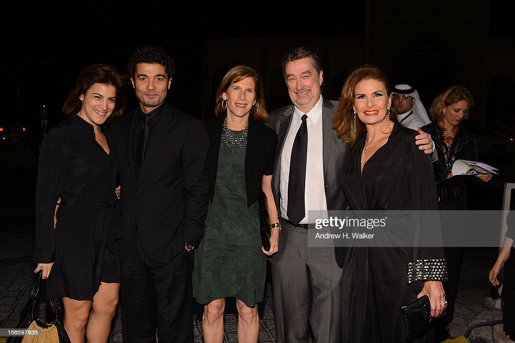 Director of Programming Genna Terranova, Khaled El Nabawy , Sr. V.P., Studio Relations & Special Project TFF Patty Newburger , Director of the Tribeca Film Festival Geoffrey Gilmore and Yosra attend the opening night ceremony and gala screening of 'The Reluctant Fundamentalist' during the 2012 Doha Tribeca Film Festival at Al Mirqab Hotel on November 17, 2012 in Doha, Qatar.