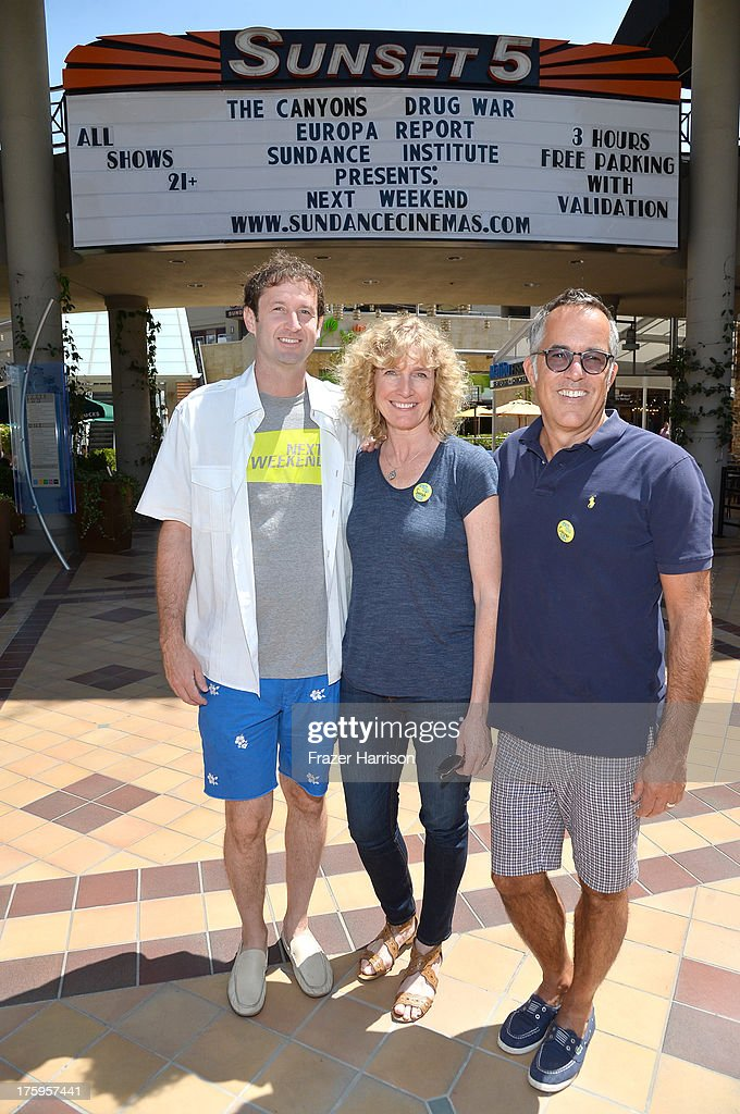 Director of Programming, Sundance Film Festival <a gi-track='captionPersonalityLinkClicked' href=/galleries/search?phrase=Trevor+Groth&family=editorial&specificpeople=561179 ng-click='$event.stopPropagation()'>Trevor Groth</a>, director of operations for the Sundance Film Festival Sarah Pearce and Director, Sundance Film Festival John Cooper attend NEXT WEEKEND, presented by Sundance Institute at Sundance Sunset Cinema on August 10, 2013 in Los Angeles, California.