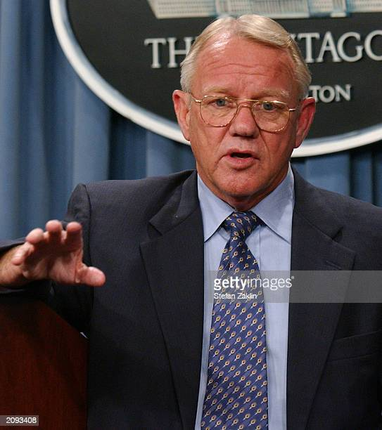 Director of Reconstruction and Humanitarian Assistance Jay Garner speaks at a news conference at the Pentagon June 18 2003 in Arlington Virginia US...