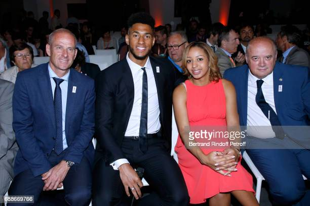Director of Roland Garros tournament Guy Forget Ambassadors of Olympic Games of Paris 2024 and Olympic Champions of Boxe Tony Yoka and Estelle...