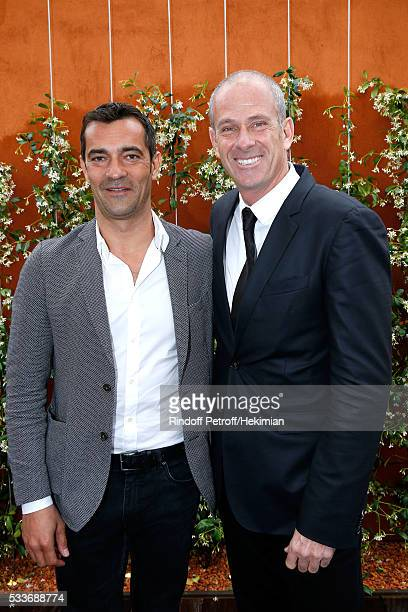 Director of Roland Garros tournament Guy Forget and CEO MFI/Lacoste Thierry Guibert attend the 2016 French Tennis Open Day Two at Roland Garros on...
