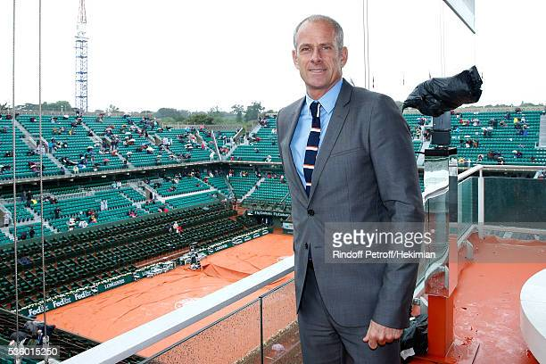 Director of Roland Garros tournament Guy Forget poses at France Television french chanel studio during a rainny Day Ten of the 2016 French Tennis...