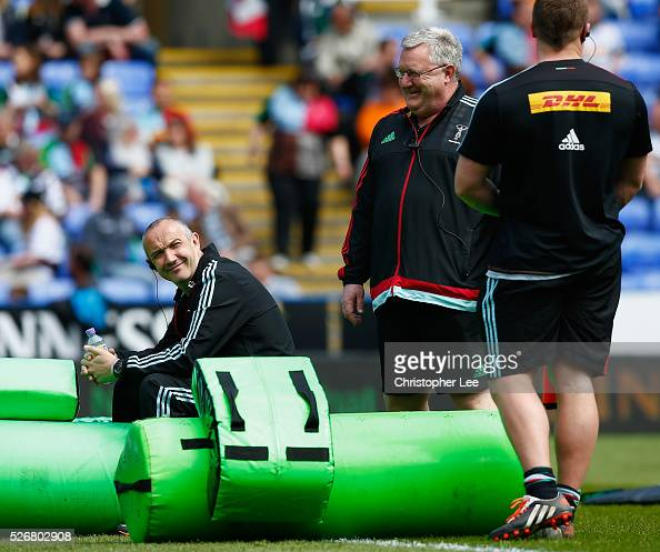 Director of Rugby Conor O'Shea and Head Coach John Kingston during the Aviva Premiership match between London Irish and Harlequins at the Madejski...