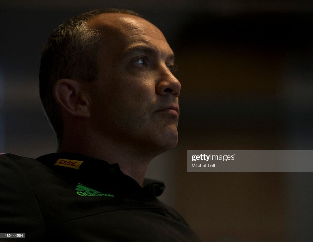 Director of rugby for Harlequins Conor O'Shea participates in a coaching lecture on August 27 2015 at the University of Pennsylvania in Philadelphia...