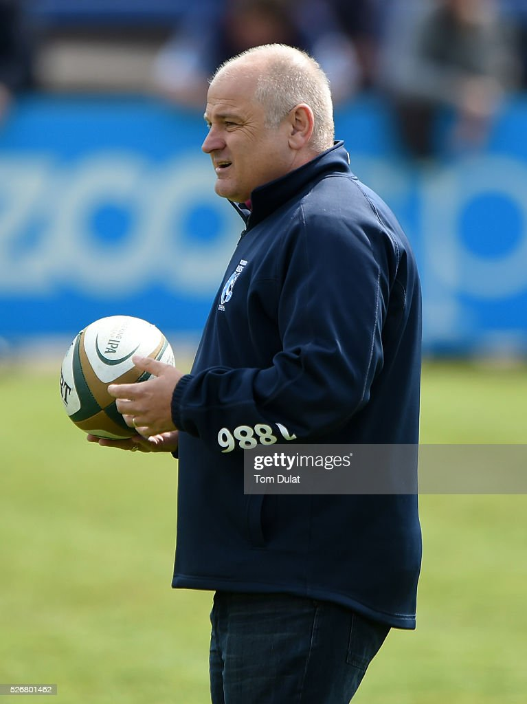 Director of Rugby of Bedford Blues, Mike Rayer looks on prior to the Greene King IPA Championship Play Off Semi Final first leg match between Bedford Blues and Bristol Rugby at Goldington Road on May 1, 2016 in Bedford, England. (Photo by Tom Dulat/Getty Images).