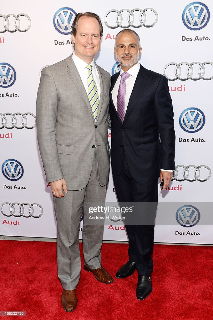 Director of Sales, Americas for Audi AG Sebastian Mackensen (L) and Chief Operating Officer of Audi of America Mark Del Rosso attend the grand opening of the Audi and Volkswagen Manhattan dealership on May 10, 2013 in New York City.
