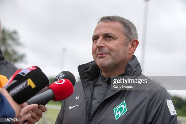 Director of Sport Klaus Allofs of Werder Bremen speaks to the media about the transfer of Eljero Elia during a Werder Bremen press conference at...