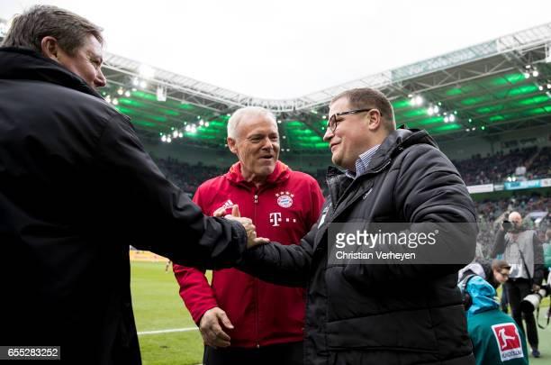 Director of Sport Max Eberl of Borussia Moenchengladbach Bernd Krauss and Hermann Gerland of Bayern Muenchen prior the Bundesliga Match between...