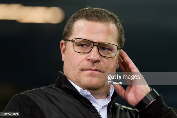 Director of Sport Max Eberl of Borussia Moenchengladbach gestures during the UEFA Europa League Round of 16 first leg match between FC Schalke 04 and...