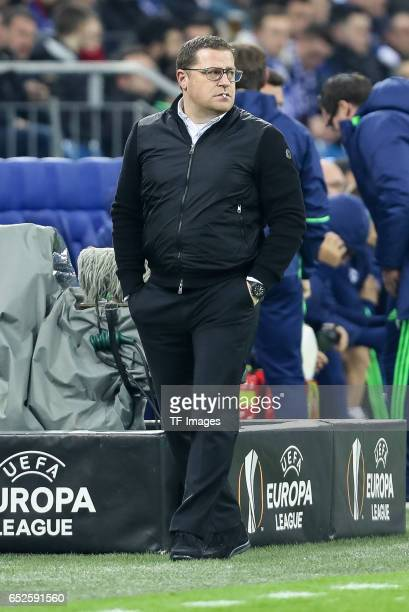 Director of Sport Max Eberl of Borussia Moenchengladbach looks on during the UEFA Europa League Round of 16 first leg match between FC Schalke 04 and...