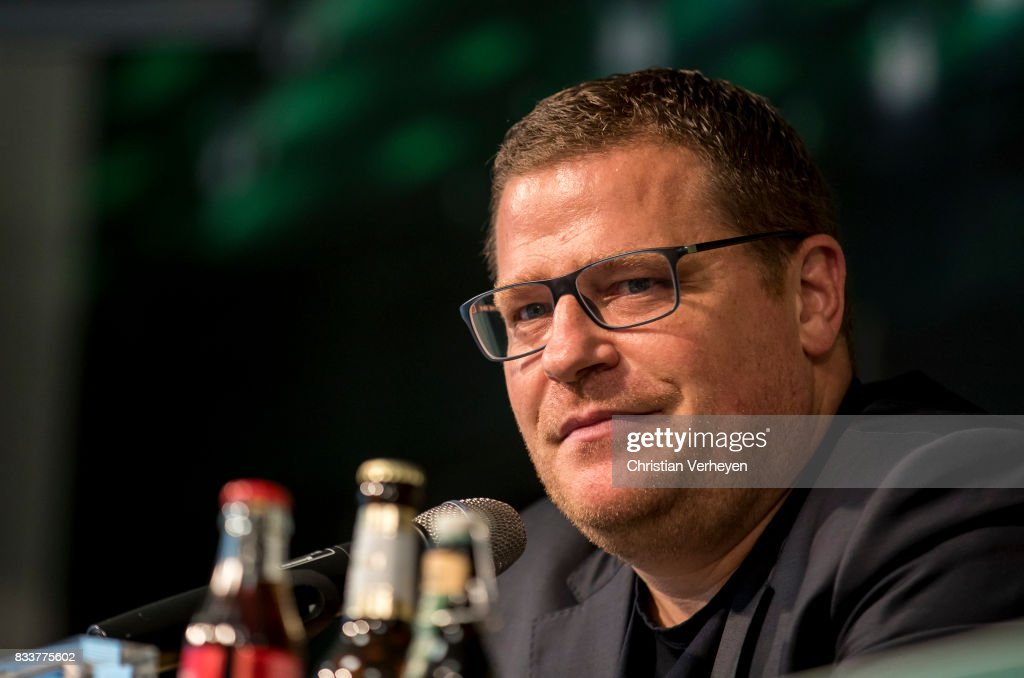 Director of Sport Max Eberl of Borussia Moenchengladbach talks to the media after Raul Bobadilla signs a new contract for Borussia Moenchengladbach at Borussia-Park on August 17, 2017 in Moenchengladbach, Germany.