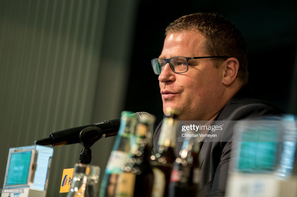 Director of Sport Max Eberl of Borussia Moenchengladbach talks to the media during a press conference of Borussia Moenchengladbach at Borussia-Park on August 18, 2017 in Moenchengladbach, Germany.