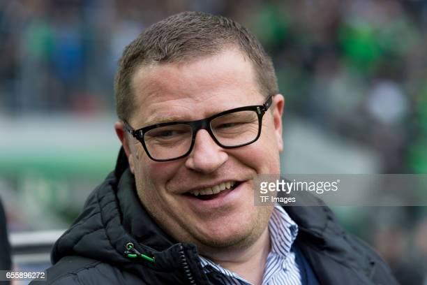 Director of Sports Max Eberl of Borussia Moenchengladbach laughs during the Bundesliga match between Borussia Moenchengladbach and Bayern Muenchen at...