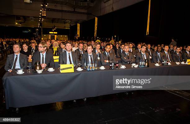Director of sports Michael Zorc and head coach Juergen Klopp and the team during the General Assembly of BV Borussia 09 Dortmund eV at the...
