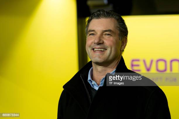 Director of Sports Michael Zorc of Dortmund laughs during the Bundesliga match between Borussia Dortmund and FC Ingolstadt 04 at Signal Iduna Park on...