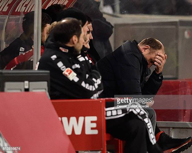 Director of Sports of 1 FC Koeln Joerg Schmadtke looks dejected during the Bundesliga match between 1 FC Koeln and Hertha BSC at RheinEnergieStadion...