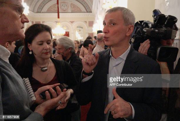 Director of the Bolshoi Ballet Makhar Vaziev answers journalists' questions during a press conference on the postponement of the world premiere of...
