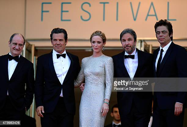 Director of the Cannes Film Festival Pierre Lescure actors Josh Brolin and Emily Blunt director Denis Villeneuve and actor Benicio Del Toro attend...