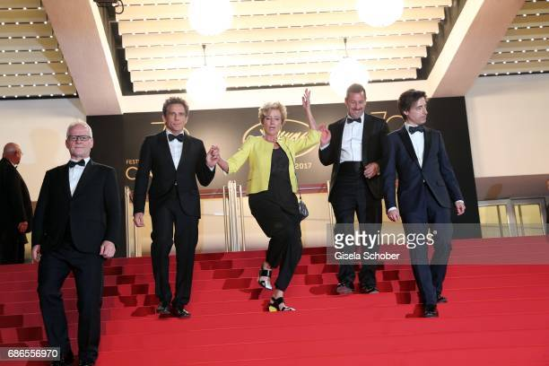 Director of the Cannes Film Festival Thierry Fremaux actors Ben Stiller Emma Thompson Adam Sandler and Noah Baumbach departs the 'The Meyerowitz...